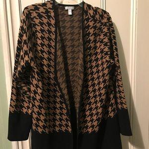 Charter Club Black Tan Houndstooth Sweater  (XL)